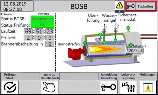 BOSB operation without constant monitoring for boiler systems